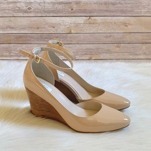 Cole Haan Nude Patent Leather Lacey Wedges
